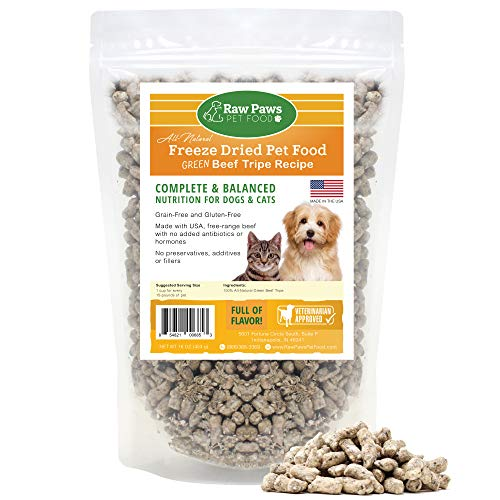 Raw Paws Premium Raw Freeze Dried Green Beef Tripe Dog Food & Cat Food, 16 oz - Antibiotic-Free - Made in USA Only - Grain, Gluten and Wheat Free - All Natural Pet Food