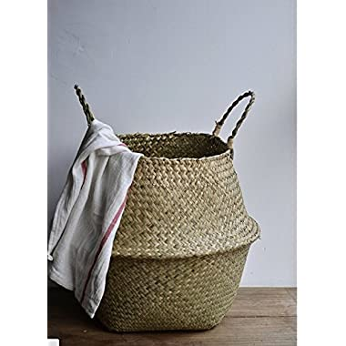 "DOKOT Natural Seagrass Belly Basket with Handles, Large Storage Laundry Basket (15"" Diameter x 13.4  Height, Natural)"