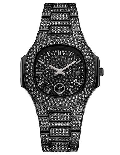 MLHXHX Reloj de cuarzo para hombre de lujo con diamantes de imitación, resistente al agua, estilo hip hop, esfera grande, de gama alta, para hombre, color negro
