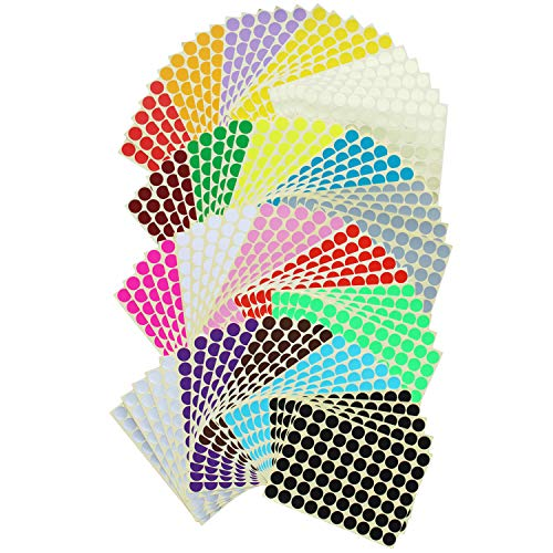 7000 Tel 19mm Ronde Stip Stickers Kleur Codering Labels, 20 Kleuren, 100 Vellen