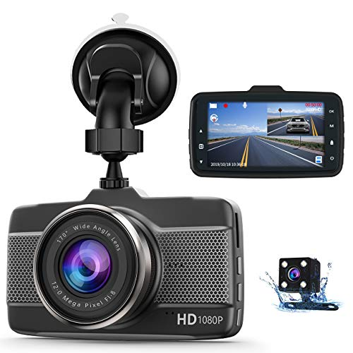 Claoner Dash Cams for Cars Front and Rear FHD 1080P Dashcam, Dual Dash Cam with F1.8 Night Vision 170°Wide Angle Dashcams for Cars, Loop Recording, G-Sensor, Parking Monitor, WDR