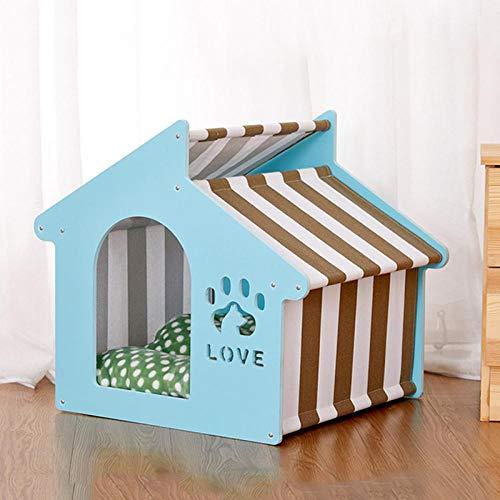 Zwinger Haustier Bett Haustier Holz Haus Hund Europäischen Stil Outdoor-Zwinger 45X47X50Cm Blau