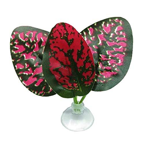 LPOQW Ornamento de pecera artificial planta hoja pecera decoración simulación Betta hamaca pescado resto cama acuarios tropicales decoración accesorios, rojo
