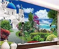XSJ 壁紙壁紙カスタム写真フレスコ画エーゲ海ガーデンHDTV背景パペルデパレード3D壁紙シャワーヘッド-120X100CM