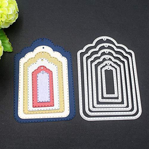 Dyyicun12 Tags beschriften, Stanzschablone Scrapbooking Prägeschablonen Stanzformen für DIY Fotopapier Einladung-Karten Grußkarte Hochzeit Geburtstag Silver