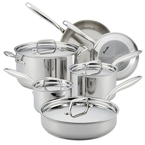 Breville Thermal Pro Stainless Steel Cookware Pots and Pans Set, 10 Piece, Silver