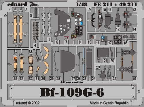 Bf 109 G-6 Color Photo Etch Cockpit Details for Hasegawa model kits (1/48 accessory, Eduard FE211)
