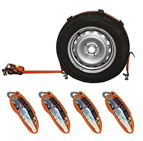 4X Spanngurt Auto Transport 50mm Zurrgurt Radsicherung PKW KFZ Autotransportgurt Reifengurt (15) - Made in Germany