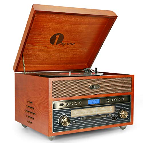1byone Nostalgic Wooden Turntable Wireless Vinyl Record Player with AM, FM, CD, MP3 Recording to USB, AUX...
