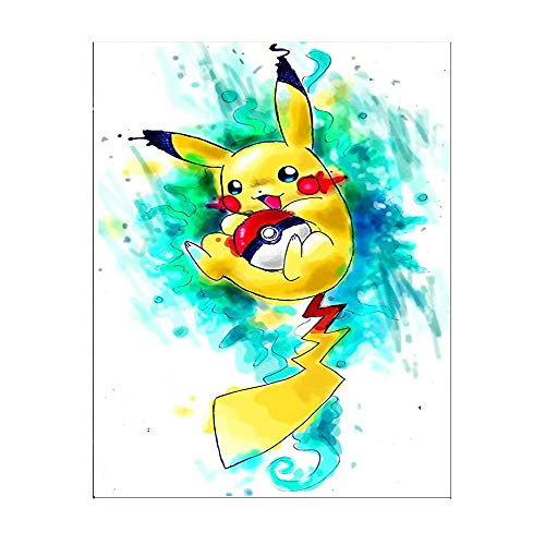 Kimily DIY Paint by Numbers for Adults Kids Pokemon Paint by Numbers DIY Painting Pikachu Acrylic Paint by Numbers Painting Kit Home Wall Living Room Bedroom Decoration Pikachu