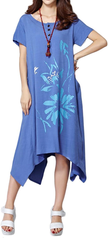 Women ALine Short Sleeve Loose Flower Printed Cotton Linen ONeck Irregular Dress