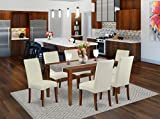 East West Furniture 7Pc Rectangle 60' Dining Table And 6 Parson Chair With Mahogany Finish Leg And Linen Fabric-Cream Color, 7