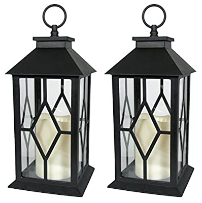 """Decorative Black Lantern - LED Flickering Flameless Pillar Candle with 5 Hour Timer Included - Indoor/Outdoor Lantern - 13"""""""