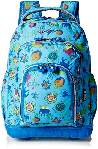 """J World 16"""" Lollipop Rolling Backpack with Lunch Kit - Jungle"""