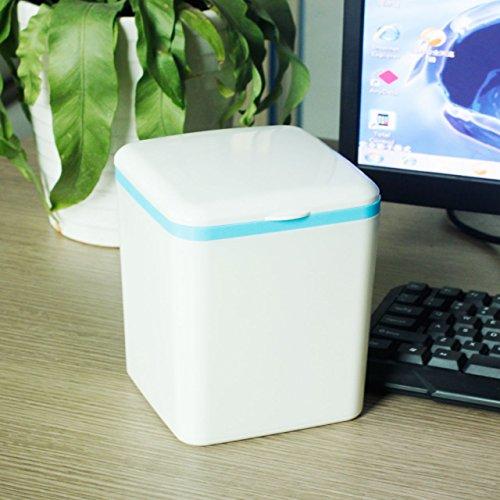 Xiuxiutian Bacs à ordures extérieurs d'une Capsule Flip-Style Chambre Salon Bureau poubelles de Bureau 13.5 * 13.5 * 16cm, Bleu