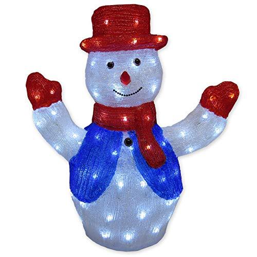 Schneemann Figur aus Acryl mit 80 LED kaltweiß beleuchtet für Garten außen