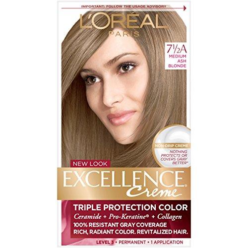 L'Oreal Paris Excellence Creme Permanent Hair Color, 7.5A Medium Ash Blonde, Pack of 1 100%...