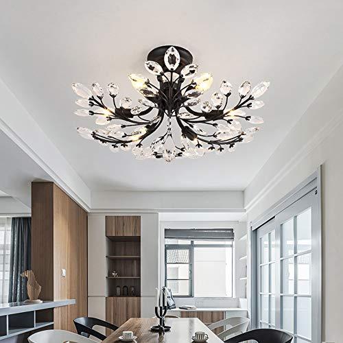 YBQ Lámpara de techo de cristal con 6 flores, europea, moderna, para comedor, sala de estar, comedor, dormitorio, estudio, luz LED cálida, 65 x 65 x 37 cm