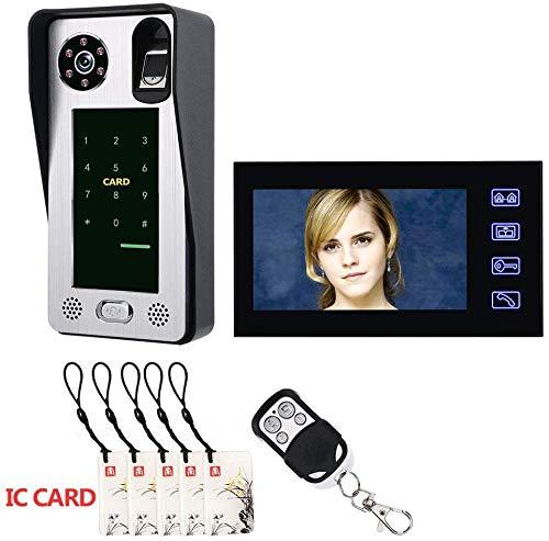 MEETGG 9 Zoll Fingerprint IC Karte Video-türsprechanlage Sprechanlage Türklingel mit Tür Access Control System Nachtsicht Sicherheit (Eine Kamera + EIN Monitor)