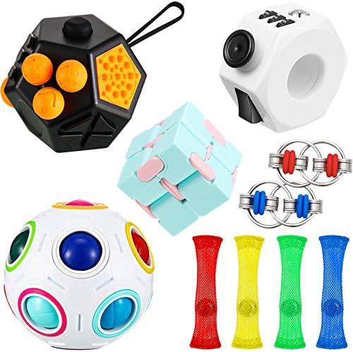 10 Pieces Handheld Fidget Toy Set Includes Fidget Toy Cube Puzzle Magic Rainbow Ball Key Flippy product image