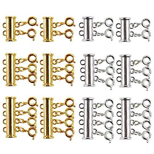 Gesh 12 piezas de collares de tamaño allí deslizante, cierre magnético de tubo de cierre chapado en oro y plata, conectores para pulseras de capas, joyería, manualidades, collar espaciador
