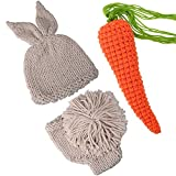 ISOCUTE Newborn Photography Prop Easter Bunny Photoshoot Outfits for Baby Boy Girl Rabbit Photo Costume Knit Hat Shorts Carrot Set