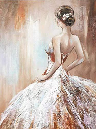 Siyse DIY 5D-Elegante Bailarina Retrato-Kit de Pintura de Diamantes de Cristal de Diamantes de imitación Bordado Pintura Arte artesanía decoración 40x50cm