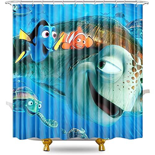 Duschvorhänge Finding Nemo Duschvorhang Anti-Schimmel antibakteriell waschbar Badewannenvorhang Polyestergewebe mit 12 Duschvorhangringen 70,87 x 78,74 Zoll