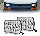 For Chevy Express Cargo Van 1500 2500 3500 Truck Lamps 7''x6' 6x7 Inch Super Bright High Low Beam LED Headlight Pair