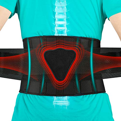 FEATOL Back Brace Lumbar SupportBack Brace for Lifting Back Pain Sciatica Scoliosis Herniated DiscLower Back Brace with Removable Ergonomically Designed 3D Silicone Lumbar Pad for Men amp Women