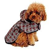 LeerKing Impermeable para Perros Abrigo Impermeable para Mascotas Chubasquero con Capucha y Agujero para Arnés con Etiqueta Mágica para Perros Pequeños y Medianos S