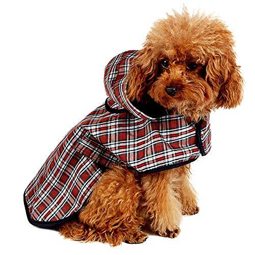 LeerKing Regenjacke Regenmantel mit Kapuze und Geschirr-Loch für Hunde Rücken 20cm bis 46cm wasserdicht Hundepullover 6 Größe für kleine Haustier M