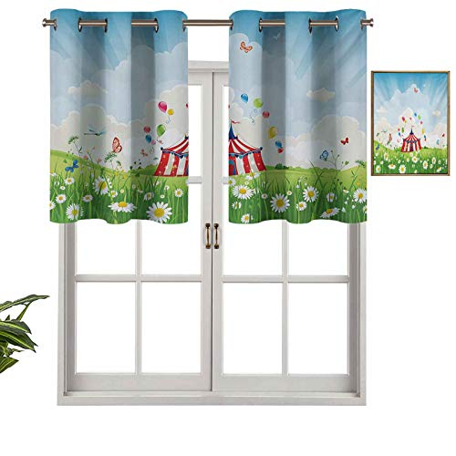 Hiiiman Valance Grommet Top Travelling Circus Under Blue Sky Flowers Flying Butterflies Lawn in Grassland Print, Set of 2, 54'x36' for Kitchen Bathroom Curtians for Cafe