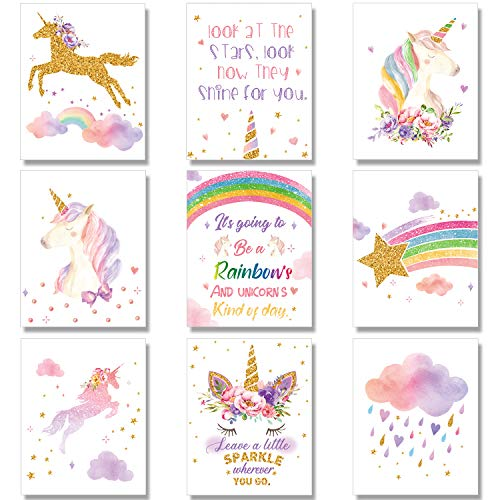 Outus 9 Pieces Unicorn Rainbow Wall Art Prints Unframed Watercolor Unicorn and Rainbow Posters for Girls Kids Bedroom Nursery Decorations