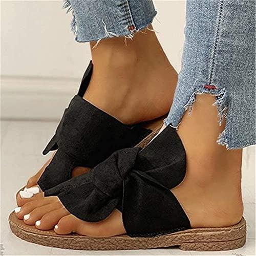 DYHOZZ Women Bowknot Toe Ring Sandals Ladies Comfy Slippers Summer Slip On Flat Shoes Sandals Open Toe Flat Slipper Slide Sandal Orthopedic Women's Bunion Corrector Sandals