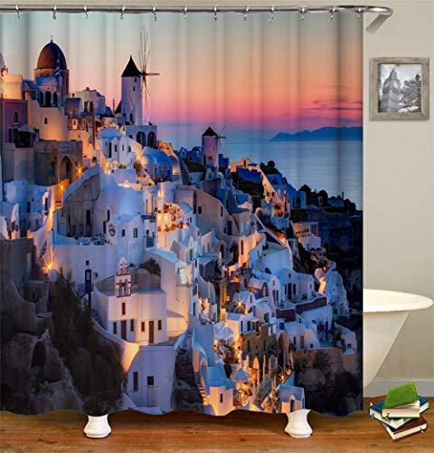 ZZZdz slot onder de lichten van de nachtdecoratie voor gebruik binnenshuis. Douchegordijn 180 x 180 cm. 12 haken gratis 3D-print in High Definition Riches.