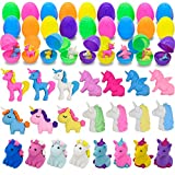 Prefilled Easter Eggs with Unicorn Erasers (24Pcs), Assorted Unicorn Pencil Erasers, Pencil Top Filled Eggs for Kids Easter Eggs Hunt, Easter Basket Stuffers, Easter Party Favors, Classroom Prize Supplies