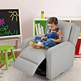Esright Kid's Swivel Recliner Chair, Children Recliner PU Leather Armchair for Toddler Boys Girls, Lightweight 360 Degree Swivel Sofa Chair, 4+ Age Group, Gray