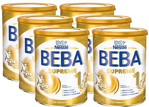 Nestlé BEBA SUPREME 1 Anfangsnahrung: von Geburt an, Pulver, mit pflanzlichen Ölen, ohne Palmöl, 6er Pack (6 x 800g)
