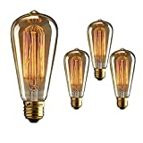 Homesake® Light Bulbs for Home Decor Items, Edison Tungsten Filament Antique Vintage Glass Yellow Light Bulbs E27 Light Decoration for Home, Living Room, Bedroom Bedside, Hall - Pack of 4