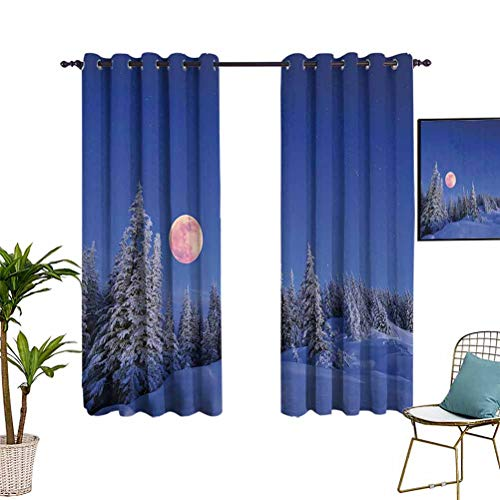 Anyangeight Winter Decorations Blackout Window Curtain Panels Winter Night in Mountain Tops with Full Moon in Idyllic Sublime Habitat View Colorful Design Panel Pair for Kid's Bedroom 42'x54' Multi