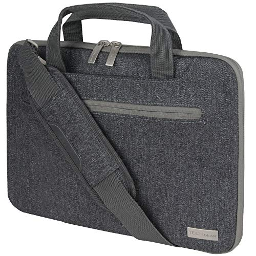 TECHGEAR Case for 11' - 12.3' Laptops, Portable Multi-functional Laptop Case with Adjustable Shoulder Strap, Luggage Strap & Suppressible Handles, Portable Sleeve Organiser Case Cover + Pockets GREY