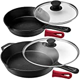 Pre-Seasoned Cast Iron Skillet Set (8-Inch and 12-Inch) with Glass Lids - Oven Safe Cookware -...