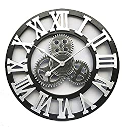 Mshitf Handmade Oversized 3D Retro Rustic Decorative Luxury Art Big Gear Wooden Vintage Large Wall Clock On The Wall for Gift 20 Inche Wall Clock (Color : S, Sheet Size : 58cm)