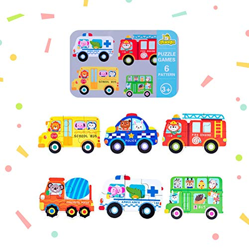 Baby's First Puzzle Wooden Animal and Vehicles Puzzles for Cognitive Development of Toddlers and Preschoolers – Homeschooling and Kindergarten Montessori Teaching Aids – Happy Traffic