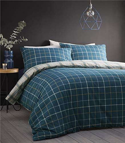 Homemaker Tartan bedding sets check brushed cotton flannelette quilt cover & pillow cases (Teal,King)