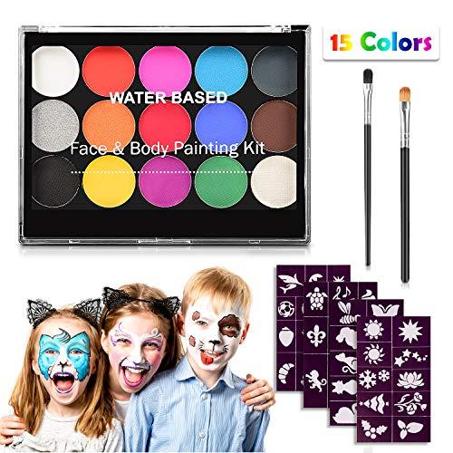 Kit de maquillage pour enfants, Keten Kit de maquillage professionnel non toxique 15 couleurs avec 2 pinceaux et 40 pochoirs pour de fête Cosplay