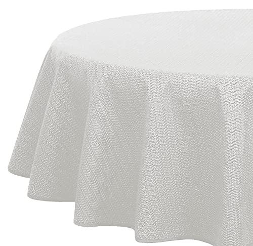 BRANDSSELLER - Gartentischdecke geschäumt - wetterfeste und rutschfeste Tischdecke für Garten Balkon und Camping (Rund 160 cm, Cremeweiß)