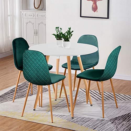 GOLDFAN Esstisch mit 4 Stühlen Esstisch Rund Holz Esszimmerstuhl aus Samt für Wohnzimmer Esszimmer Küche, Weiß + Grün