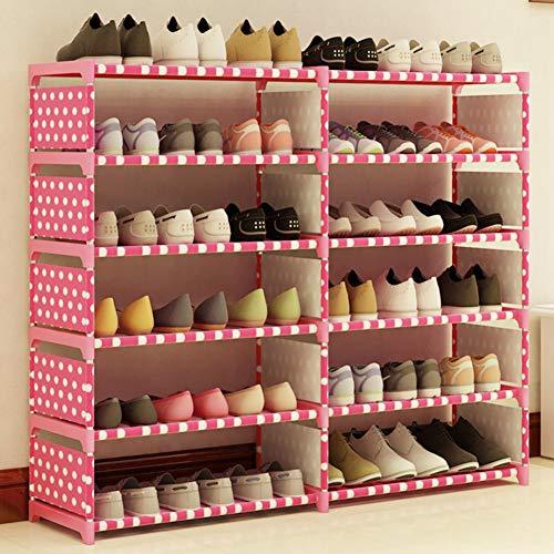 AOLI Estante de zapatos de doble hilera de 6 niveles, estante para zapatos duradero que ahorra espacio Soporte de zapatos estable de tela no tejida Entrada Organizador de almacenamiento Estante de al